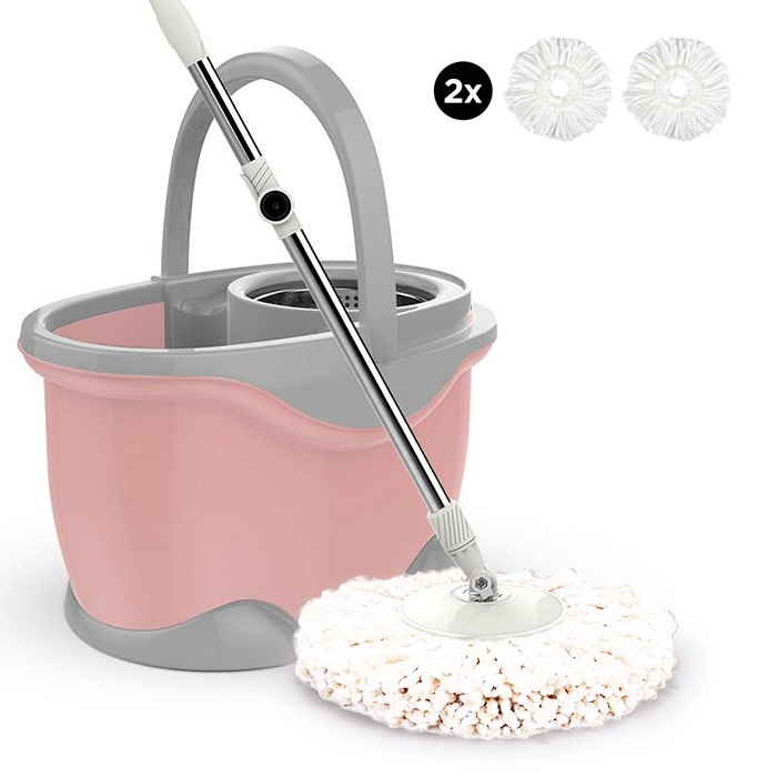 Three Device Dolphin Microfiber Spinning Mop Magic Spin Mop Stainless Steel Bucket