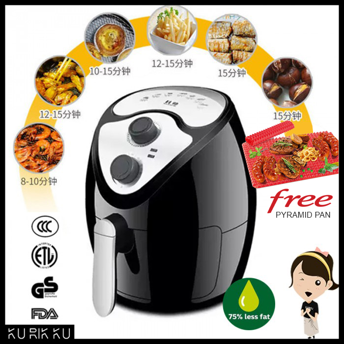 Air Fryer 2.6L Large Capacity  Non-Stick Oil Pan & Basket Drawer Oil-Free Deep Frying Cooking Oven