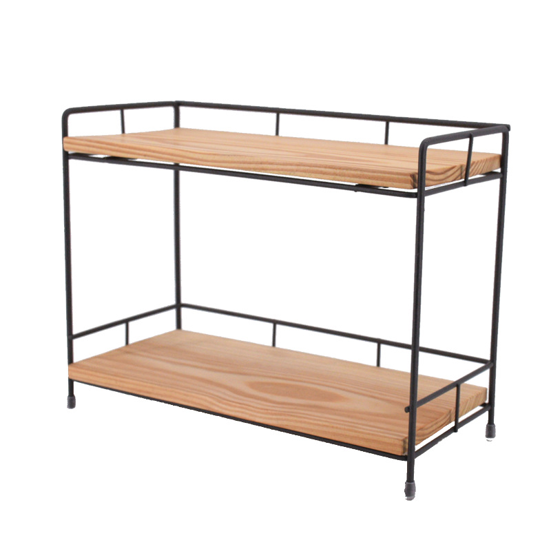 Iron Metal Wooden Two Layer Storage Spice Rack Organizer