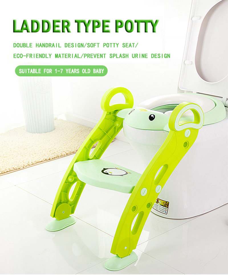 Penguin Soft Base Plastic Children's Toilet BabyTraining Folding Potty Ladder Toilet Cushion Seat