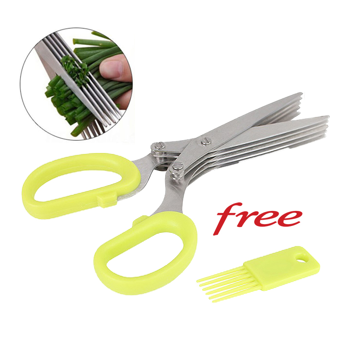 Stainless Steel 5 Blade Multi Purpose Vegetable Herb Scissor Shear Cutter Kitchen Tool Gadget