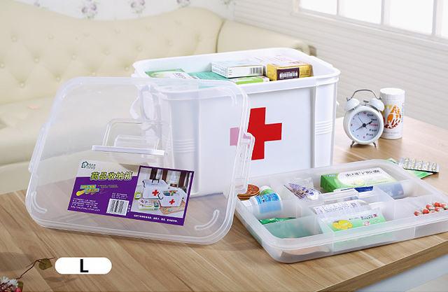 Multi-layered Family First Aid Kit Box Medicine Medical Storage Box Plastic Organizer