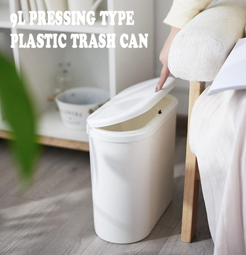 9L Pressing Type Plastic Trash Can Garbage Bin Waste Rubbish Dustbin Home Kitchen Household