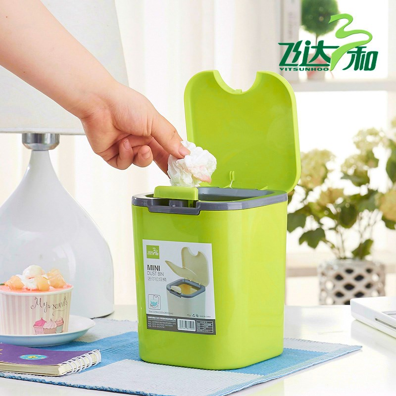 2L Automatic Press Lid Fashion Cute Mini Trash Can Waste Bin Garbage Dustbin