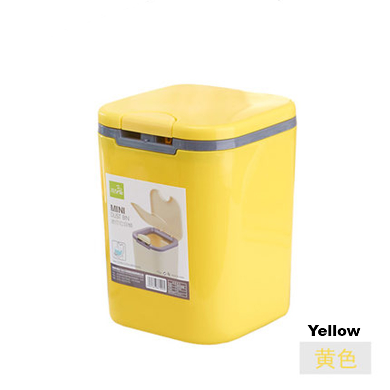 2L Automatic Press Lid Fashion Cute Mini Trash Can Waste Bin Garbage Dustbin