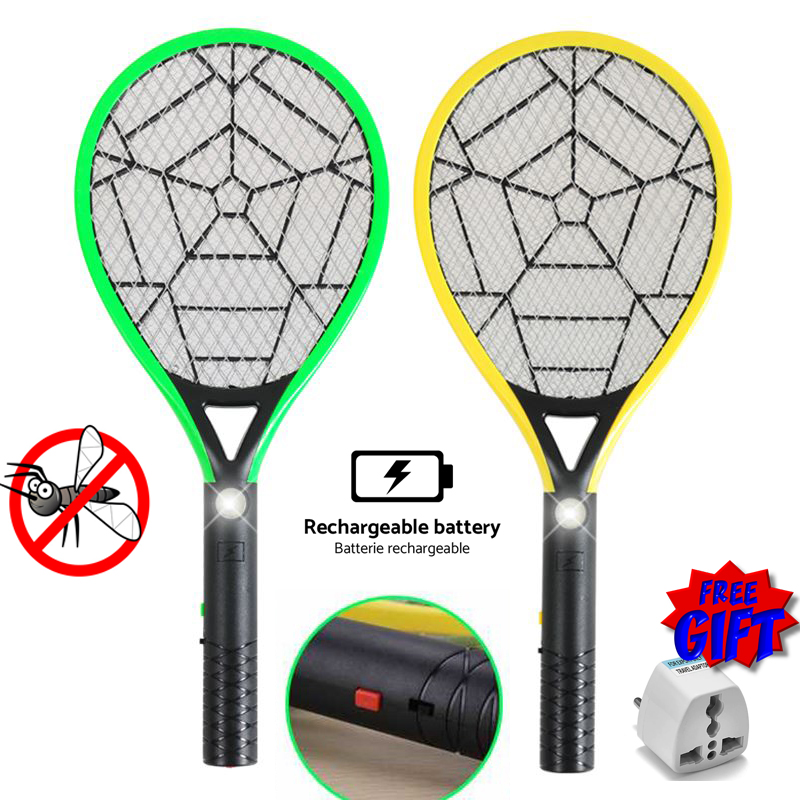 Rechargeable Electric Fly Mosquito Swatter Bug Zapper Racket Insects Killer with LED Light