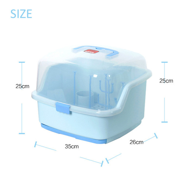 Portable Baby Bottle Storage Box With Lid Dustproof Drying Shelf Storage Box