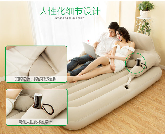 Magnificent Jilong Inflatable Queen Size Air Bed Sofa Luxurious Thicken Air Mattress Portable Outdoor Camping Bralicious Painted Fabric Chair Ideas Braliciousco