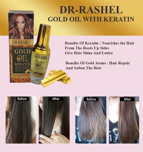 Dr-Rashel Gold Hair Oil Scalp Treatment Nourish Shine With Keratin for Hair Smoothness and Shine