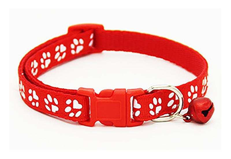 Footprint Adjustable Pet Collar Nylon Bell Kitten Puppy Dog Cat Chain Collar Neck Strap Necklace