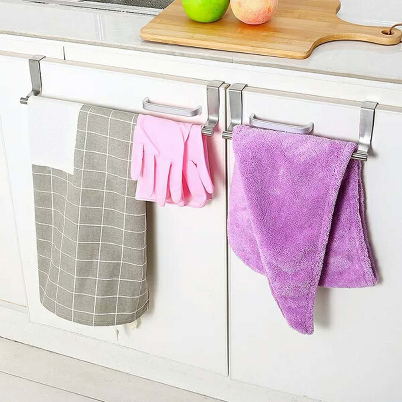 Stainless Steel Cabinet Towel Cloth Gloves Hanger Over Door Drawer Hook Kitchen 36cm
