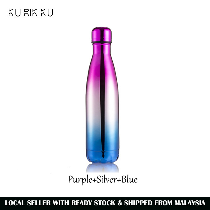 500ml 304 Stainless Steel Sport Water Bottle Rainbow Colour Cola Vacuum Thermos Flask