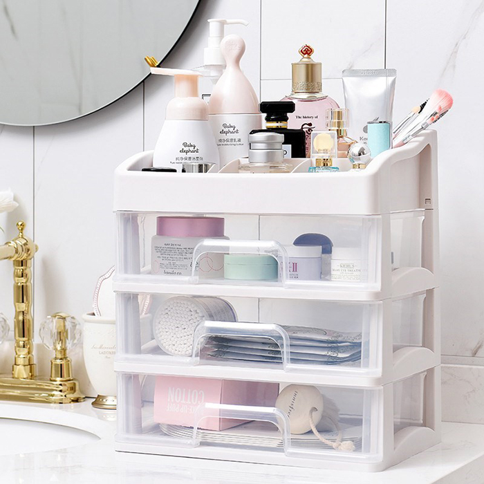 Transparent Multi Compartment Drawer Cosmetic Rack Makeup Office Storage Organizer Box