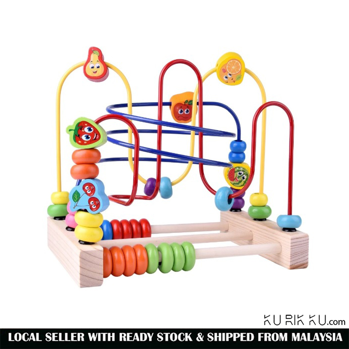 Y00616 Counting Fruit Bead Wire Maze Roller Coaster Wooden early Educational Toy for Baby Kids Gift