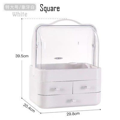 Dust-proof Makeup Storage Box Dressing Table Desktop Cosmetics Box Brush Lipstick