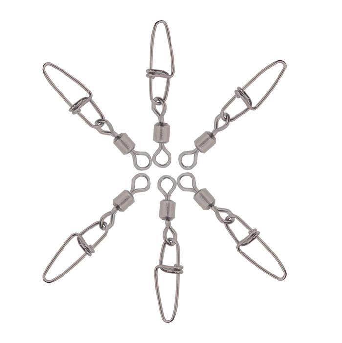 6pcs/pkt Spider King Rolling Swivels Cross-lock Snap Swivels