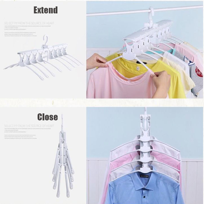 8 in 1 Multifunctional Wardrobe Magic Plastic Foldable Clothing Hanger Clothes Hanger Space Saving