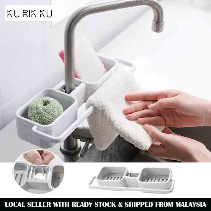 PP Sink Water Sponge Storage Rack Drainage Dish Drain Soap Brush Holder Tap Hand Towel Hanger Organizer Bathroom Accessories