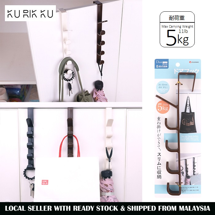 Multi Purpose Over Door Drawer Kitchen Cabinet Back Hanger 5 Hooks