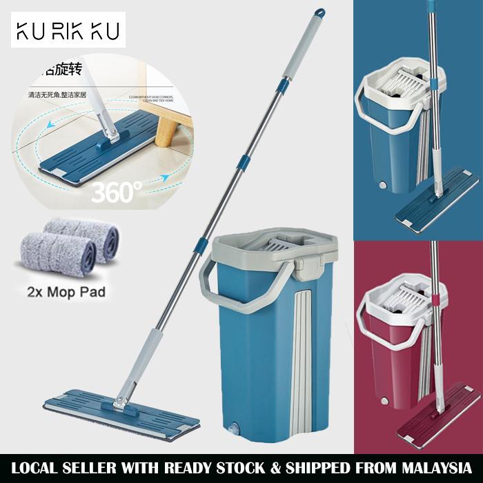 Medium Hand Free Scraping Flat Mop Self Wet Dry Microfiber Window Floor Cleaning Mop With Bucket