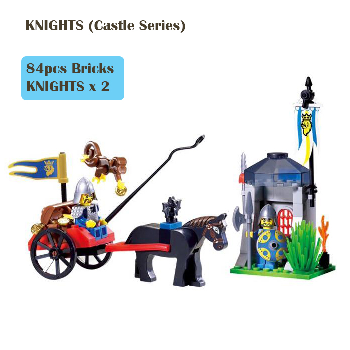 1016 Enlighten Building Blocks Medieval War Castle Series Soldier Knights Sentry Carriage Assemble Toy Lego