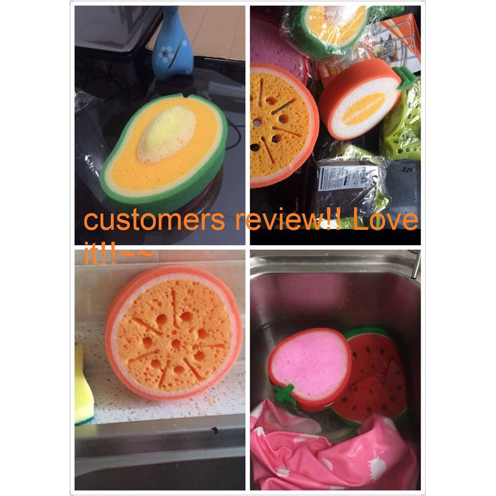 3pcs Set Cute Cartoon Extra Thick Fruit Shape Bowl Sponge Washing Cleaning Tools
