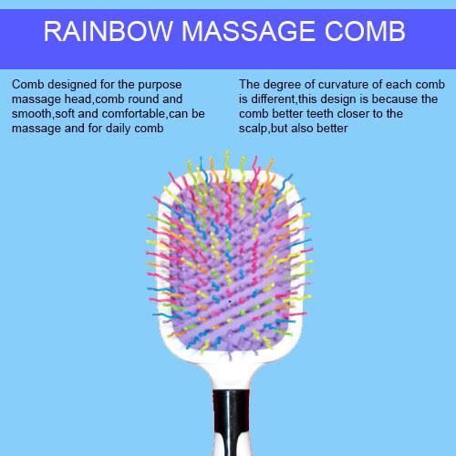 White Type A/B Rainbow Colour Hair Massage Hair Comb