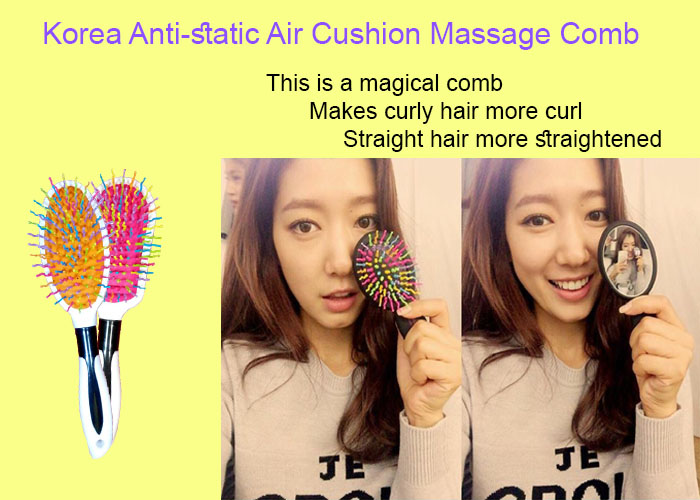 Rainbow Comb Korea Famous Head Massage Hair Comb-White/Pink 韩国彩虹梳