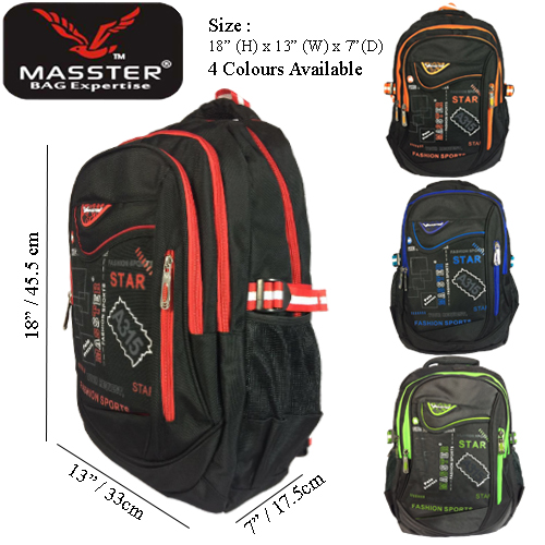 MASSTER 12467HS SCHOOLBAG LEISURE TRAVEL BACKPACK