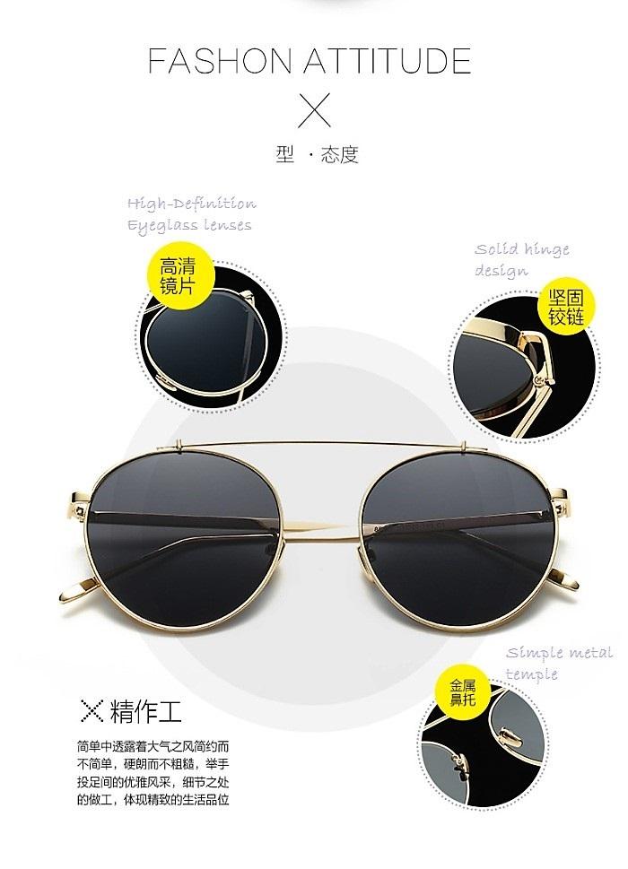 Korea Style Metal Mirror Round Sunglasses 86058 with Case