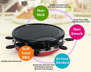 Round Non-Stick Electric Heat Barbeque BBQ Grill