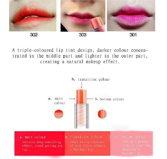 Sedell Triple Colour Moisture Unending Protein Lipstick 蚕丝蛋白三色渐变咬唇膏