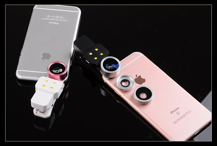 Selfie Fish Eye/Wide Angel/Micro With LED Flash Light lens (4in1)
