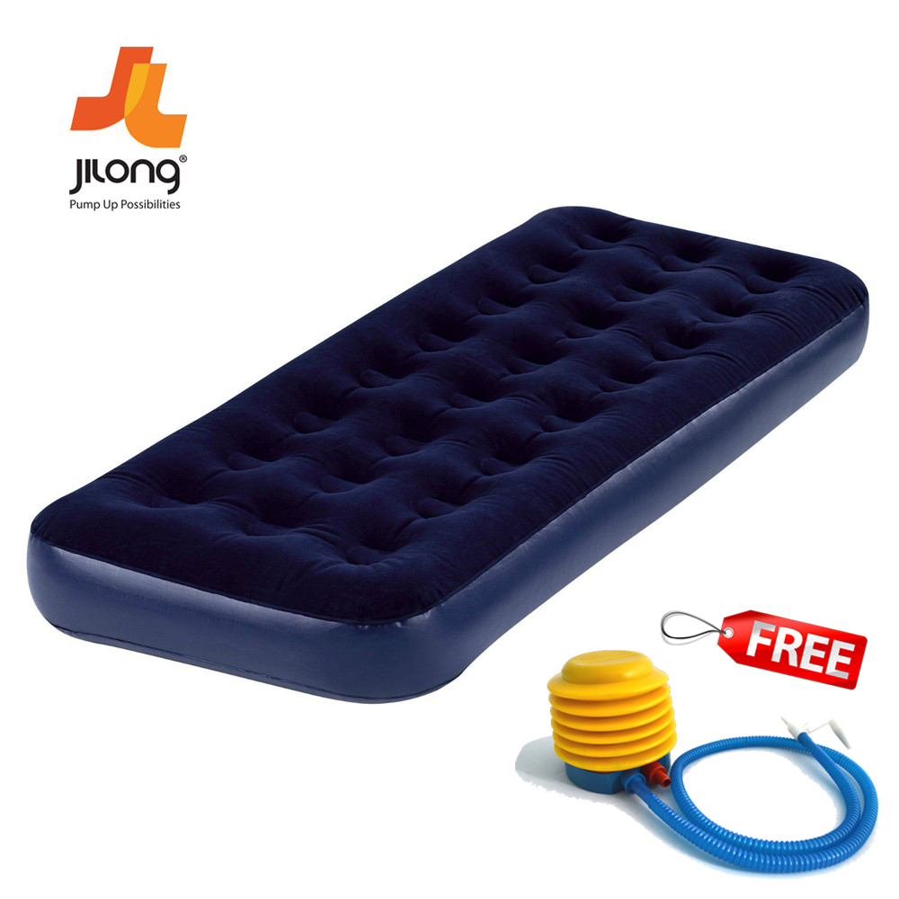 Jilong Flocked Coil Beam Inflatable Single Air Bed Mattress