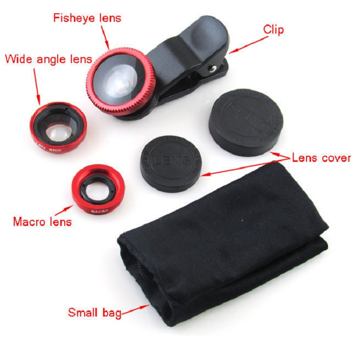 UNIVERSAL 3 IN1 FISHEYE/WIDE ANGLE/MACRO CAMERA CLIP-ON LENS FOR SMART PHONE