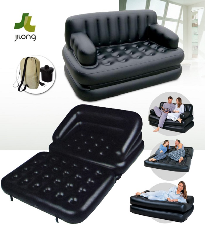 JILONG Multifunctional Inflatable Sofa Bed Mattress With Electric Air Pump    Black