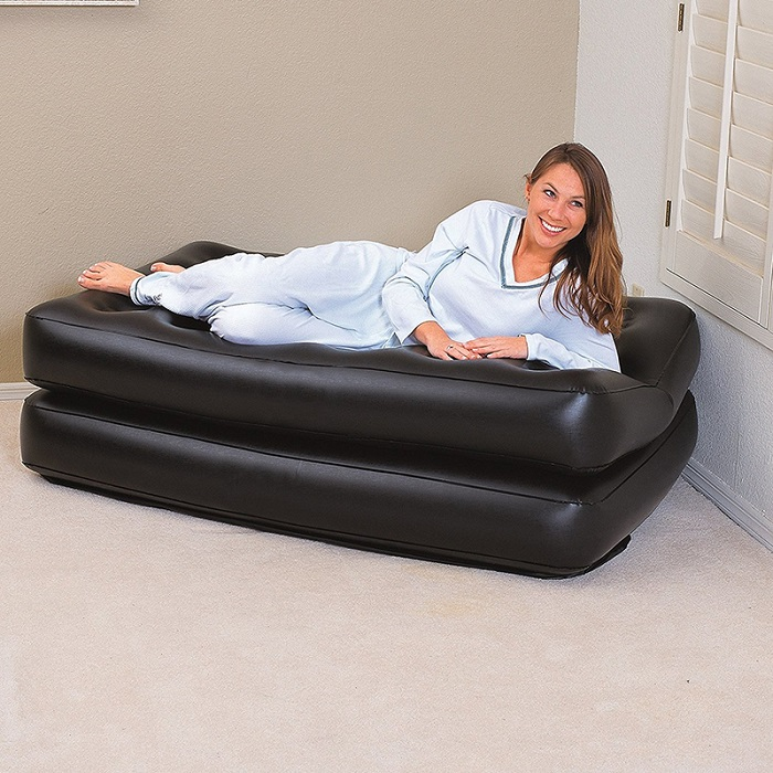 JILONG Multifunctional Inflatable Sofa Bed Mattress With Electric Air Pump - Black