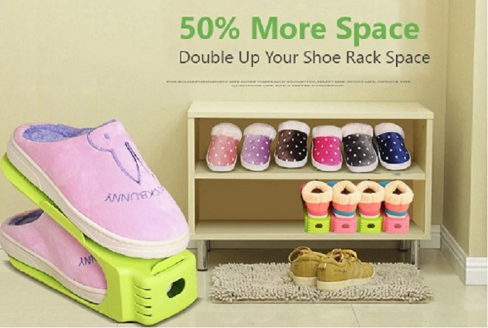 Two-Tier Plastic Shoes Rack Storage
