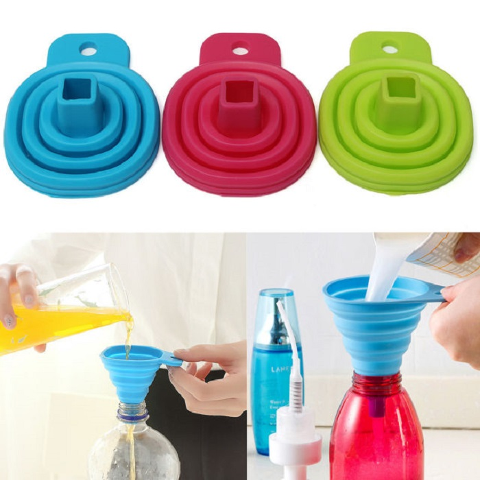 Silicone Silica Gel Practical Collapsible Foldable Funnel Hopper Kitchen Tool