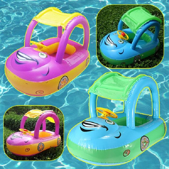 Sunshade Baby Buggy Swim Boat Kids Float Pool Inflatable Horn Car + Foot Pump