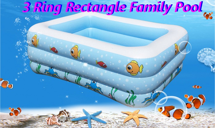 3 Ring Large Inflatable Rectangle Swimming Pool 2 Layers + Foot Pump