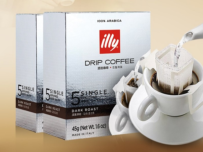 illy Drip On Filter Coffee Dark Roast - PACK OF 5 SINGLE SERVINGS