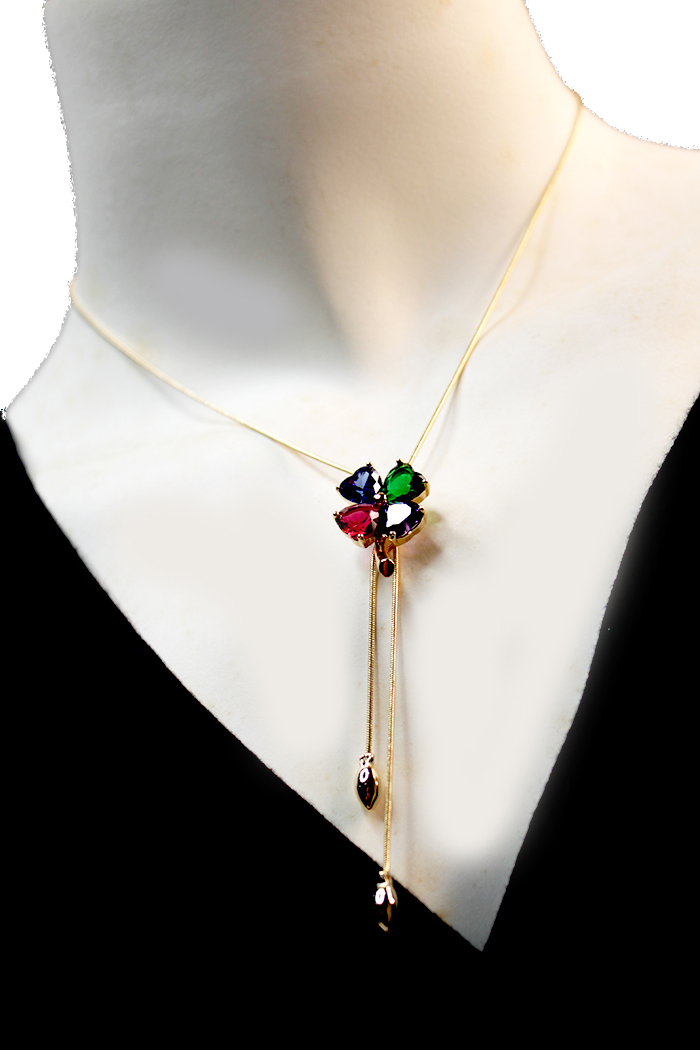 Four Leaf Clover Multi Colour Adjustable Necklaces