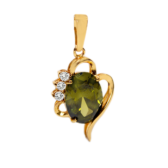 24k Gold Mint Green Pendant