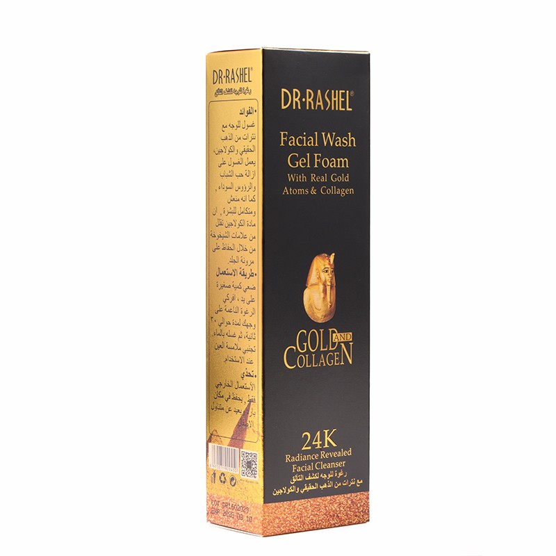 DR-RASHEL Facial Wash Gel Foam With Real Gold Atoms & Collagen Facial Cleanser 100ml