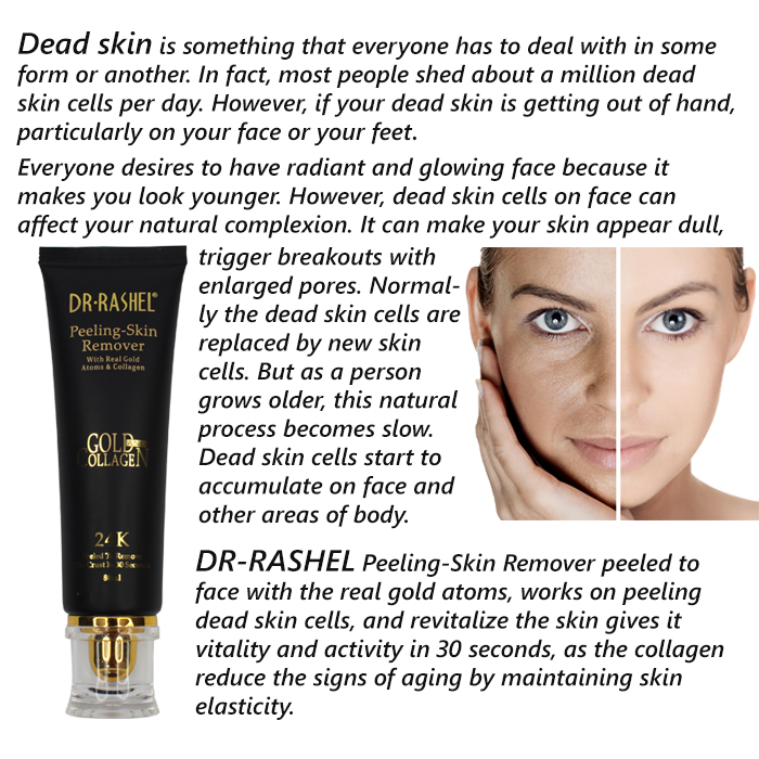 DR-RASHEL  Peeling-Skin Remover With Real Gold Atoms & Collagen Remover Exfoliating Dead Skin DRL-1175