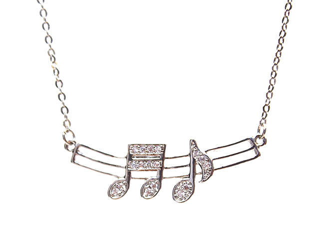 Music Note Silver Necklaces