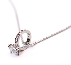 Silver Diamond Ring Necklaces