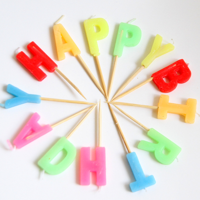 Colorful Candles Toothpick -Happy Birthday/ Numbers