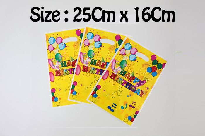 Birthday Plastic bag /Gift Plastic Bag (25Cm x 16Cm) 10PCS